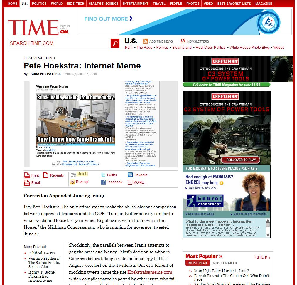 Time.com reports on hoekstraisameme.com