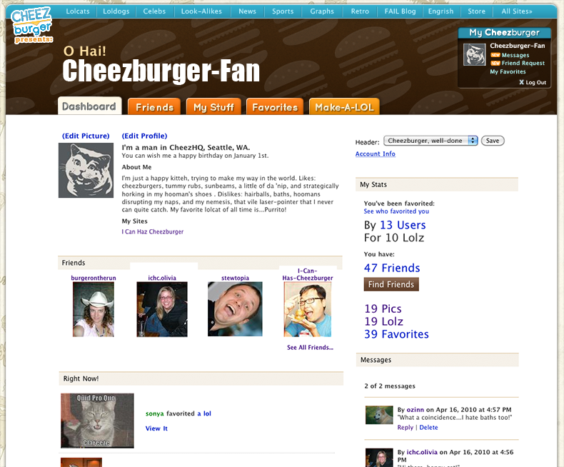 Profile for Cheezburger-fan with header