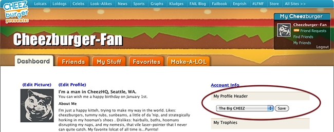 Screenshot of Cheezburger.com profile