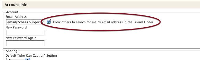 Screenshot of setting for email searching