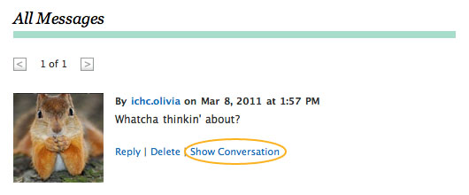 Screenshot of Show Conversation link